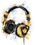 在白色的概略耳机 免版税库存图片