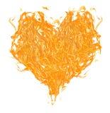 在白色的橙色火焰心脏 免版税库存图片