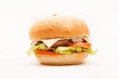 在白色的汉堡包 免版税库存图片