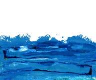 在白色的油手画深蓝冲程 库存图片