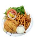 在白色的油煎的鱼三明治 库存图片