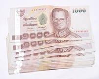 在白色的泰国金钱 免版税库存图片