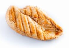在白色的烤鸡胸脯 免版税库存照片