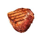 在白色的烤bbq牛排 免版税图库摄影