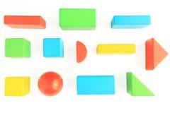 在白色的玩具木块 免版税库存图片
