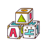 在白色的玩具立方体 向量例证