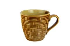 在白色的竹纹理杯子孤立 免版税库存照片