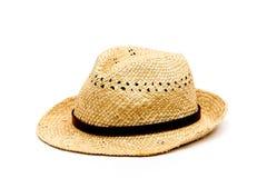 在白色的简单的草帽 库存照片