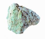 在白色的粗砺的绿松石宝石 免版税库存图片
