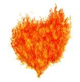 在白色的红火明亮的心脏 库存图片
