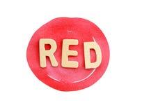在白色的红色抽象圈子冲程与文本(裁减路线) 免版税库存照片