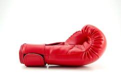 在白色的红色拳击手套 图库摄影
