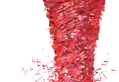 在白色的红色桃红色龙卷风旋风 库存照片