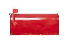 在白色的红色邮箱与旗子 免版税图库摄影