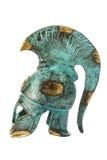 在白色的纪念品古老黄铜希腊盔甲 免版税库存图片