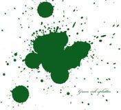 在白色的绿色墨水泼溅物 库存图片
