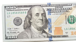 在白色的美元 免版税库存图片