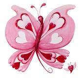 在白色的美好的红色loveheart蝴蝶绘画 免版税库存照片