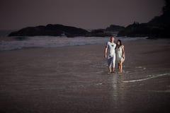 在白色的美好的年轻夫妇 库存照片