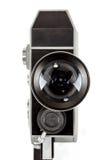 在白色的老8mm电影摄影机 免版税库存图片