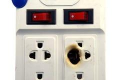 在白色的肮脏的熔化和被烧的电力输出插座 免版税图库摄影