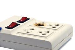 在白色的肮脏的熔化和被烧的电力输出插座 免版税库存照片