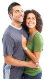 在白色的背景夫妇愉快的爱 库存照片