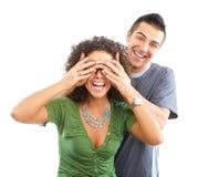 在白色的背景夫妇愉快的爱 库存图片