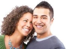 在白色的背景夫妇愉快的爱 免版税图库摄影