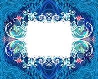 在白色的背景蓝色典雅的框架 图库摄影