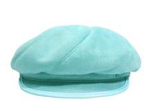 在白色的背景蓝色帽子夫人 免版税库存图片