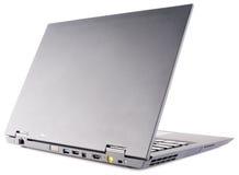 在白色的膝上型计算机背面图 免版税库存照片