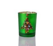 在白色的自创圣诞节蜡烛台 免版税图库摄影