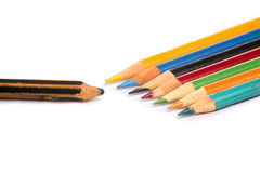 在白色的色的铅笔 图库摄影