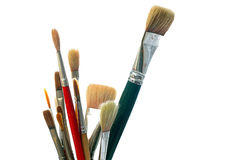 在白色的艺术家油漆刷 免版税库存图片
