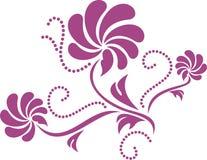 在白色的花卉紫色元素 免版税库存照片