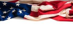 在白色的葡萄酒美国国旗与拷贝空间 免版税库存照片