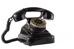 在白色的葡萄酒黑电话孤立 免版税库存照片