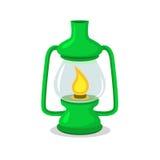 在白色的葡萄酒绿色野营的灯笼在舱内甲板和动画片样式 向量例证
