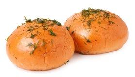 在白色的蒜味面包 免版税库存图片