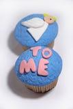 在白色的蓝色甜乳香树脂杯形蛋糕 免版税库存照片