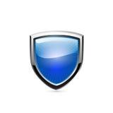 在白色的蓝色盾。传染媒介 图库摄影