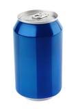 在白色的蓝色铝罐 免版税库存照片