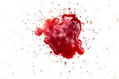 在白色的血迹 免版税库存图片