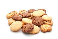 在白色的被分类的曲奇饼 图库摄影