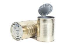 在白色的被密封的金属罐头 免版税库存照片
