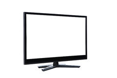 在白色的被带领的lcd电视显示器 免版税库存照片