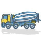在白色的被概述的混凝土搅拌机 蓝色黄色建筑机械和地面工作 库存例证