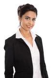 在白色的被隔绝的成功的愉快的印地安女商人 免版税库存照片