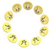 在白色的被隔绝的日元金黄硬币标志圈子 免版税库存照片